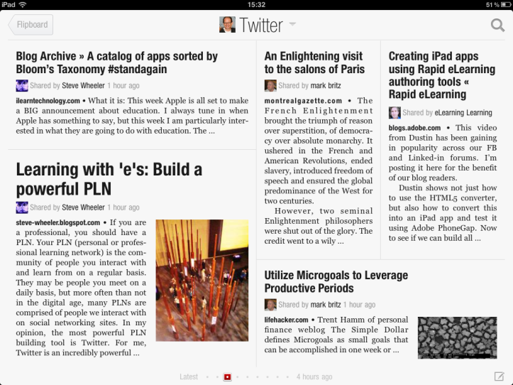 The 'paper' metaphor of Flipboard