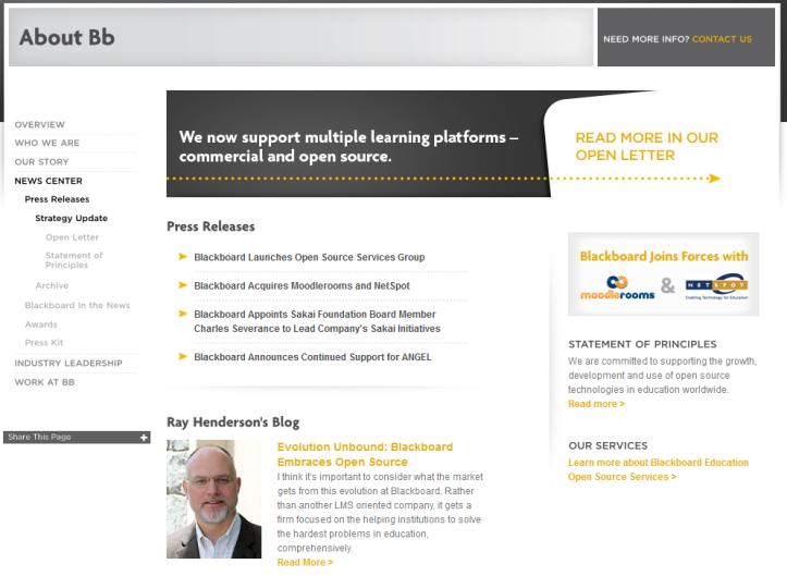 Blackboard newspage